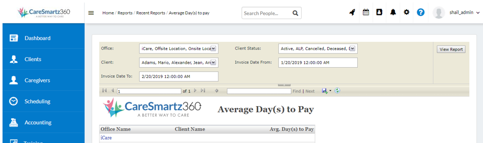Average day to Pay Report