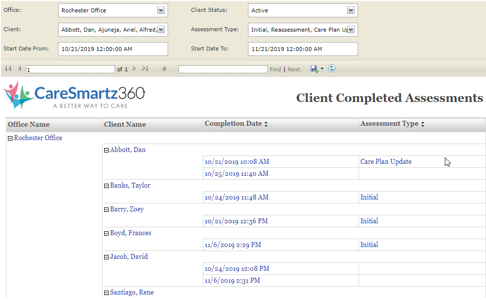 Client Completed Assessments Caresmartz Update