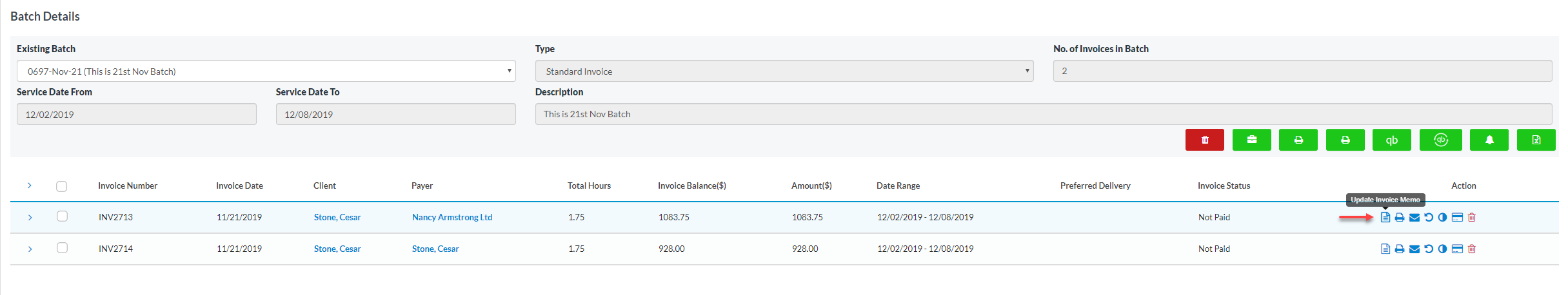 Customize invoice memo