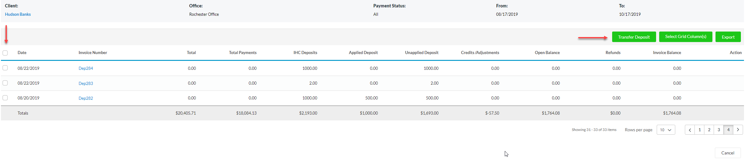 Option to manually select deposits quickbooks