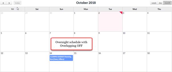 Overnight Schedule