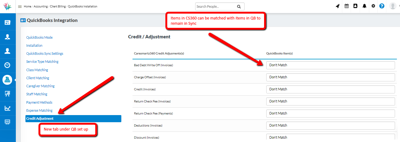 Able to Match Credit Adjustment Items in Quickbook