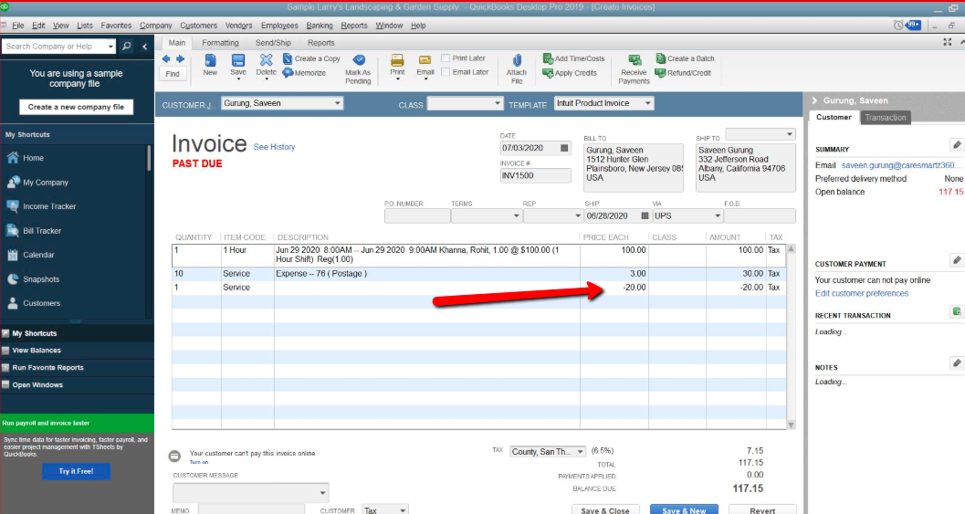 quickbooks as a Credit on Invoice