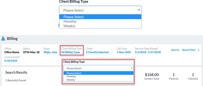 Client Billing Type Filter Addition
