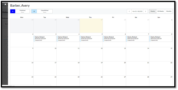 Able to View Caregiver Running calendar