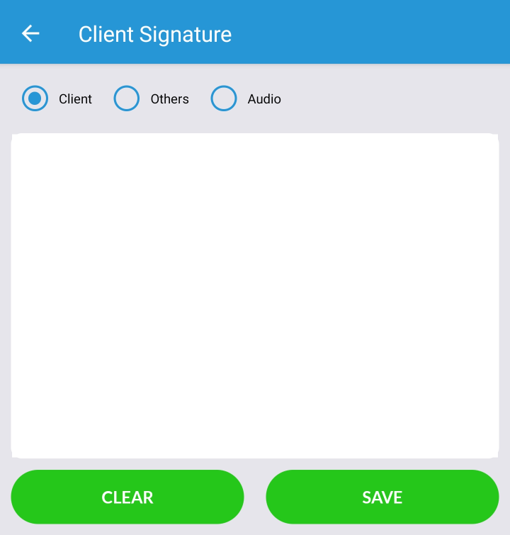Client Signature Screen in Mobile App