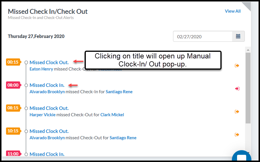 Updates on Missed-Clock In Clock Out Update March