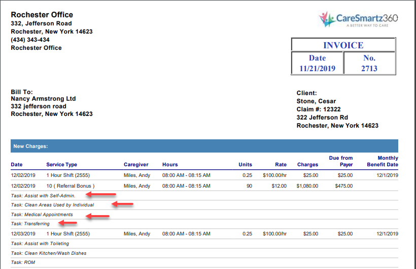 View on Invoice Caresmartz Software